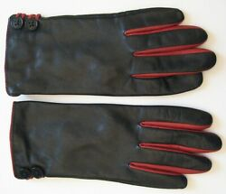 Ralph Lauren Black amp; Red Leather Gloves Cozy Lining Size Large $16.95