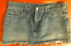 DENIM JEAN SKIRT WOMENS SIZE 7 LEVIS STRAUSS FRINGE SHORT SKIRT CLOSET STAPLE $12.99