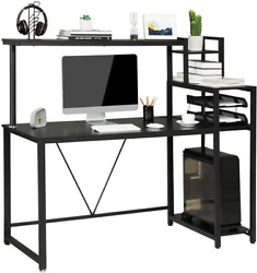 Computer Desk with Hutch amp; Storage Shelves 59 Inch Home Office PC Desk Black $97.87