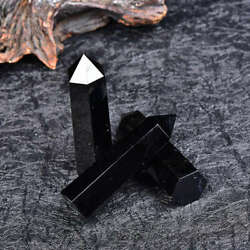 50 60mm Natural Black Obsidian Quartz Obelisk Healing Crystal Point Wand Reiki $8.69