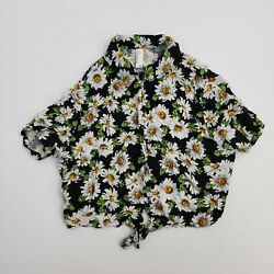 American Apparel Women#x27;s Floral Short Sleeve Blouse Top Daisy Shirt Extra Small $7.88