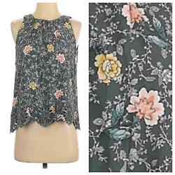 LOFT Green Floral Scalloped Sleeveless Top XS Extra Small Shell Blouse Tank $17.62