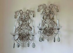 Antique Pair Macaroni Beaded Glass Prisms Wall Sconces $1895.00