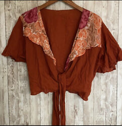 Rust Floral Boho Tie Crop Top One Size $10.50