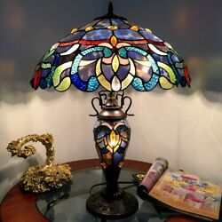 Tiffany Style Table Lamp Stained Glass Victorian Double lit 3 Light 18quot; Shade $214.50