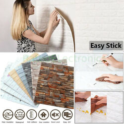 10PCS 3D Tile Brick Wall Sticker Self Adhesive Waterproof Foam Panel Wallpaper $15.29