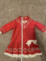 Antique red wool dress for doll about 27 28 inches tall. Has some moth holes $75.00