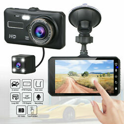4quot; Touch Screen Car Camera Dual Dash Cam Front amp; Rear Night Vision G sensor 170° $35.99