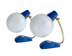 Pair Table Lamps Mid Century Danish Modern Table Lights Blue Brass Vintage $370.00