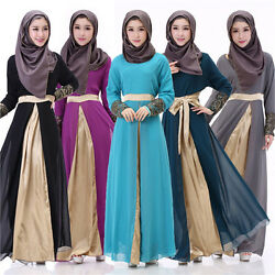 Muslim Women Chiffon Long Sleeve Maxi Dress Jilbab Robe Cocktail Kaftan Abaya $33.70