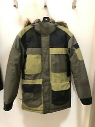 North Face McMurdo Parka III Down Jacket Taupe Green Combo Faux Fur Hood Size S $140.00