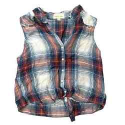 Cloth amp; Stone Plaid Sleeveless Top Extra Small Raw Hew Tie Button Up $25.00