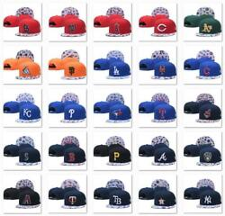 Classic Embroidered MLB Flat Brim Hip Hop Cap Snap back Sports Hat For Unisex $12.99