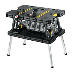 Keter 197283 Folding Table Tool Stand Workbench with 2 Clamps Black and Yellow $99.99