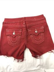 New True Religion Womens Cut off Flap Pocket Jean Shorts *faded Red Size: 27 $49.99
