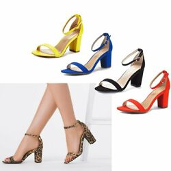 Women#x27;s Ladies Low Block Heel Ankle Strap Open Toe Party Dress Pump Shoes Size $26.59