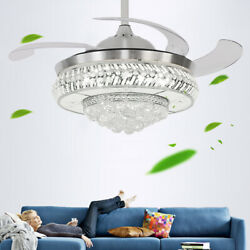 36 42quot; Retractable Crystal Ceiling Fan Light Living Room Lamp LED Chandelier Fan $126.02