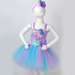 Girls Mermaid Tutu Dress Princess Birthday Party Dresses for Girls Starfish $22.10