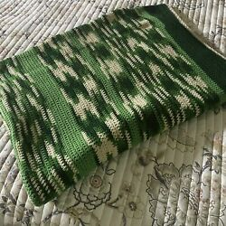 Handmade Shades Of Green And Cream Knit Afghan 56x78 $38.99