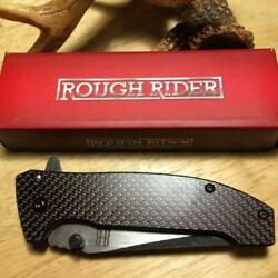 Rough Rider Red Carbon Fiber Assisted 4 1 2quot; Folding Frame lock Knife RR1826 $12.98