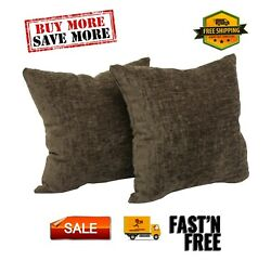 Chenille Decorative Throw Pillow 2 Pack Set For Sofa 18x18quot; Soft Many Colors