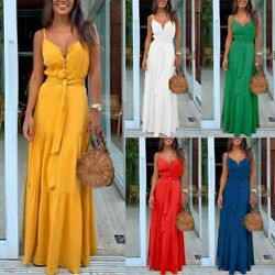 Women Sexy Slim V Neck Maxi Dress Lady Bodycon Nightclub Sling Ball Dresses