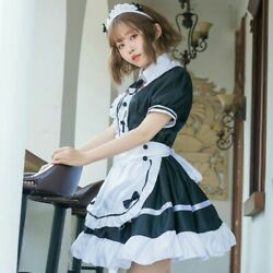 Lady French Maid Fancy Dresses Costume Outfit Waitress Uniform Plus Size Cosplay $28.30