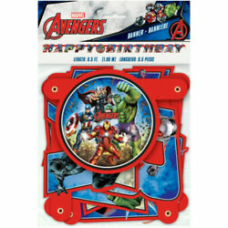 AVENGERS HAPPY BIRTHDAY JOINTED BANNER Party Supplies Decorations Hanging Room $7.48