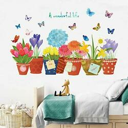 Flowers Wall Stickers for Girls Bedrooms Living Room DIY Plant Wall Decals $12.75
