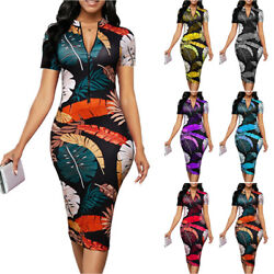 Women Zip V Neck Short Sleeve Bodycon Midi Pencil Dress Party Cocktail Dresses $18.42