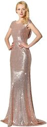 Belle House Women#x27;s Sequins Ball Evening Prom Gown Bridesmaid Dress