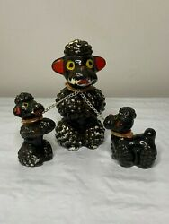 Vintage poodles Mid Century Japan poodle with puppies $5.00