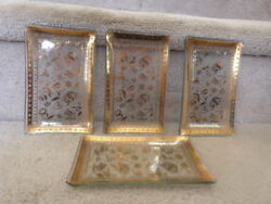 VINTAGE Mid Century GEORGE BRIARD Gold Relish Cocktail Dishes 6.62quot;x4quot; $19.99