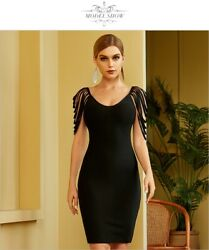 New Summer Women Black Tassel Sleeveless amp; Celebrity Evening Runway Party Dress