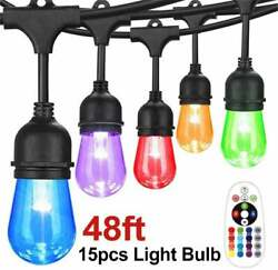 Outdoor String Lights 15 Hanging Sockets and S14 LED Color Changing Bulbs UL L $49.99