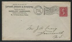 1899 U.S. Commercial Cover Sartwell Heinold amp; Humphrey Boston Saddlery