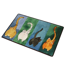 CHOOLD Cute Cat Butt Bedroom Area Rug Cat CarpetCat Tail Non Slip Absorbent $22.15