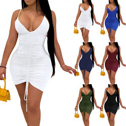Womens Sexy Deep V Neck Strappy Bodycon Mini Dress Lace Up Casual Party Dresses $19.94