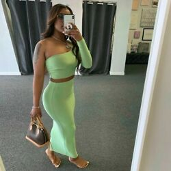 Hot One Shoulder Sleeve Off Shoulder Crop Top Skirt Two Piece Set Sexy Bodycon $35.99