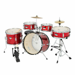 5 Piece Full Size Complete Adult Drum Set Kit with Stool amp; Sticks Red $180.20