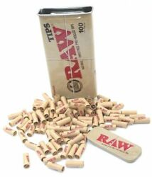 100 RAW Rolling Papers Pre Rolled Tips in Slide Top Storage Tin RAWTHENTIC $9.85