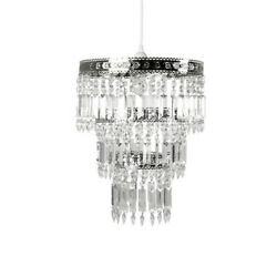 Tadpoles Faux Crystal amp; Chrome Queen#x27;s Crown Pendant Light Shade $20.00