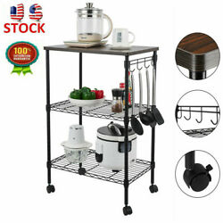3 Tier Metal Kitchen Cart Storage Rack Microwave Oven Stand Shelf with Hooks $43.72