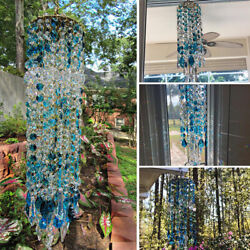 Blue Aurora Crystal Wind Chimes Glass Hanging Ornament Home Garden Decoration $18.89