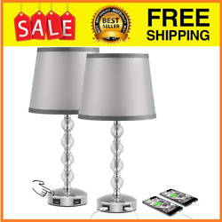2 Set Crystal Table Lamps Vintage Lamp Glass Brass Marble Cut Hurricane Prisms $72.99