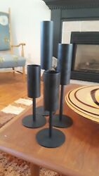 Mid century Modern 4 Tiered Candle holders black Modernist cone shaped stemmed $40.00