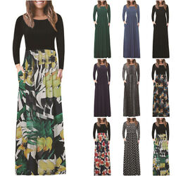 Women Boho Floral Long Sleeve Maxi Dress Casual Party Evening Splice Sundress $26.78