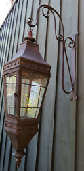 French Country Candle Sconce Metal Glass Rustic Lantern Hurricane Wall Decor $195.00
