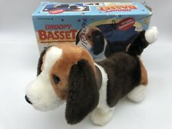 Vintage ILLCO Battery Operated Droopy Basset Walks Wags Sniffs $54.95