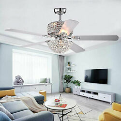 Modern 52#x27;#x27; Crystal Ceiling Fan Light LED Chandelier Retractable 5 Blade Remote $159.61